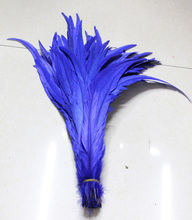Free Shipping 100pcs blue Rooster Tail feather 12 14inches 30 35cm Dyed conque/cock tail Feathers