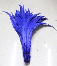 Ücretsiz Kargo 100 adet mavi horoz kuyruğu tüyü 12 14 inç 30 35 cm Boyalı conque/horoz kuyruk Tüyleri