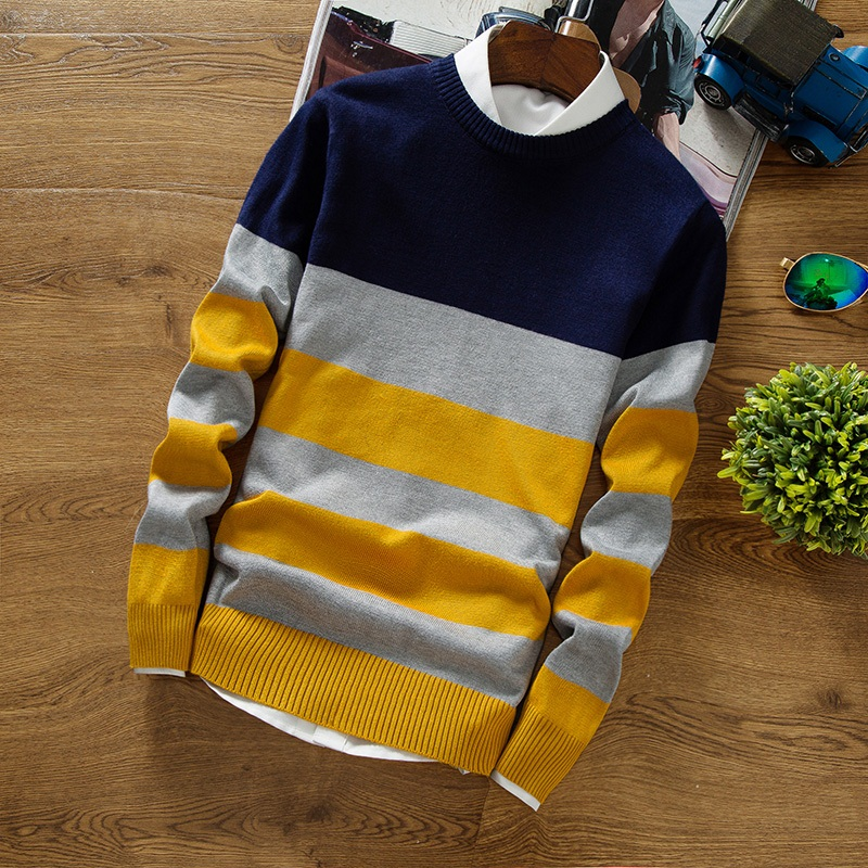 New Autumn Fashion Men 'S Pullover Sweaters Long Sleeve Round Neck Striped Knitting Cashmere Christmas Sweater Men
