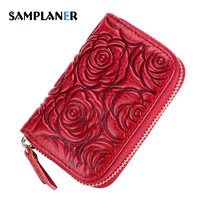 Samplanerローズ花カードホルダー女性本革クレジットカードホルダー花印刷ライセンスバッグ枕rfidカード財