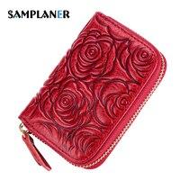 Samplaner Rose Floral Card Holders Women Genuine Leather Credit Card Holder Flower Printing License Bag Pillow