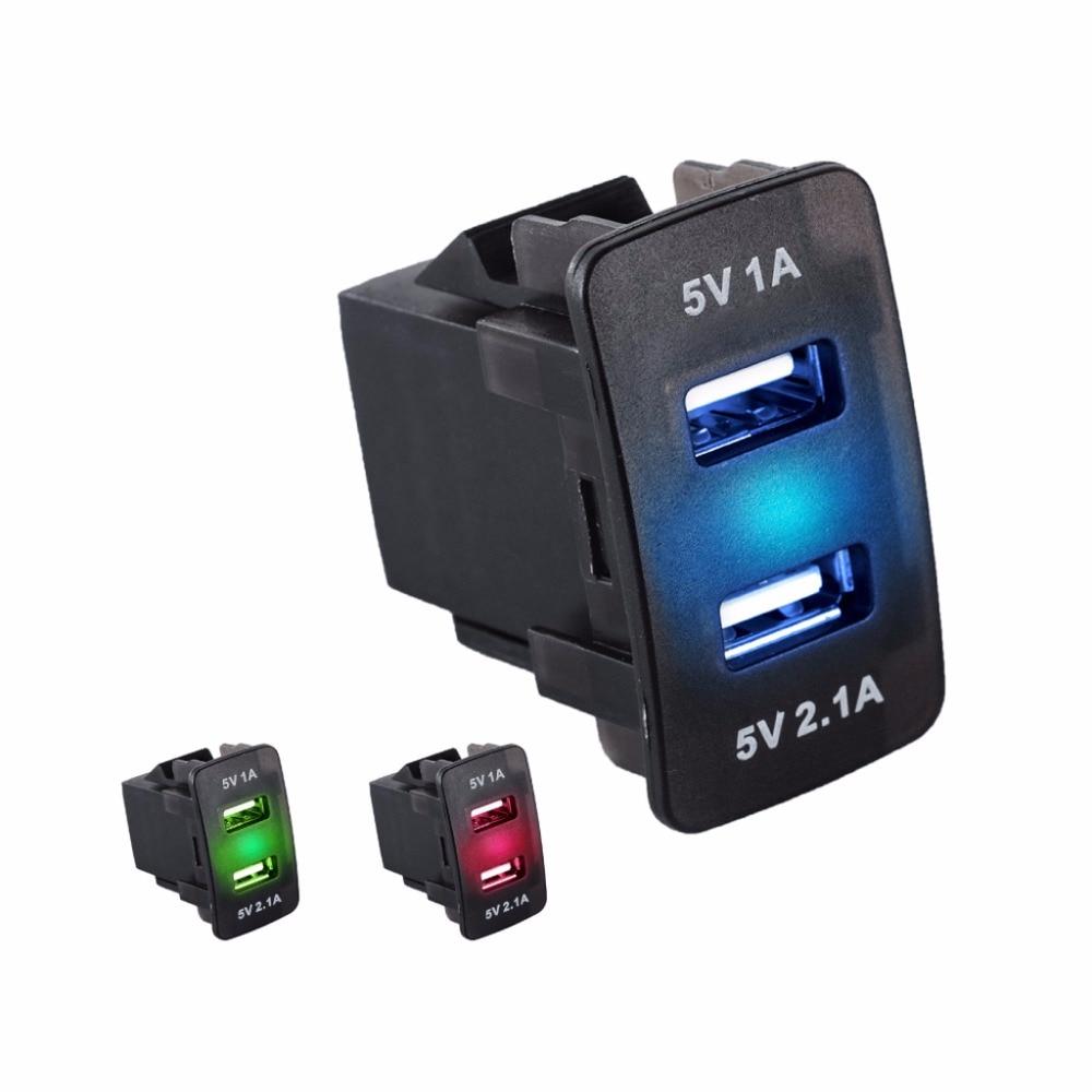 1A//2.1A Dual USB Universal Port Car Charger Socket Green 12V24V Digital Voltmeter