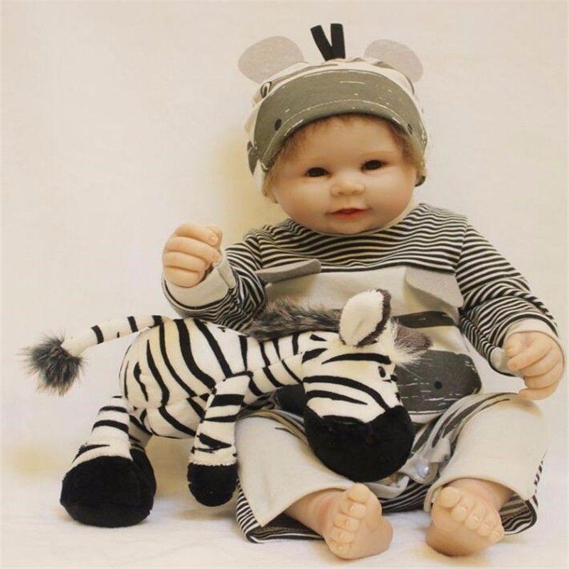 22 Zoll Ganzkörper Jungen Baby Puppen Neugeborenen Reborn Handmade Vinyl Babypuppen & Zubehör