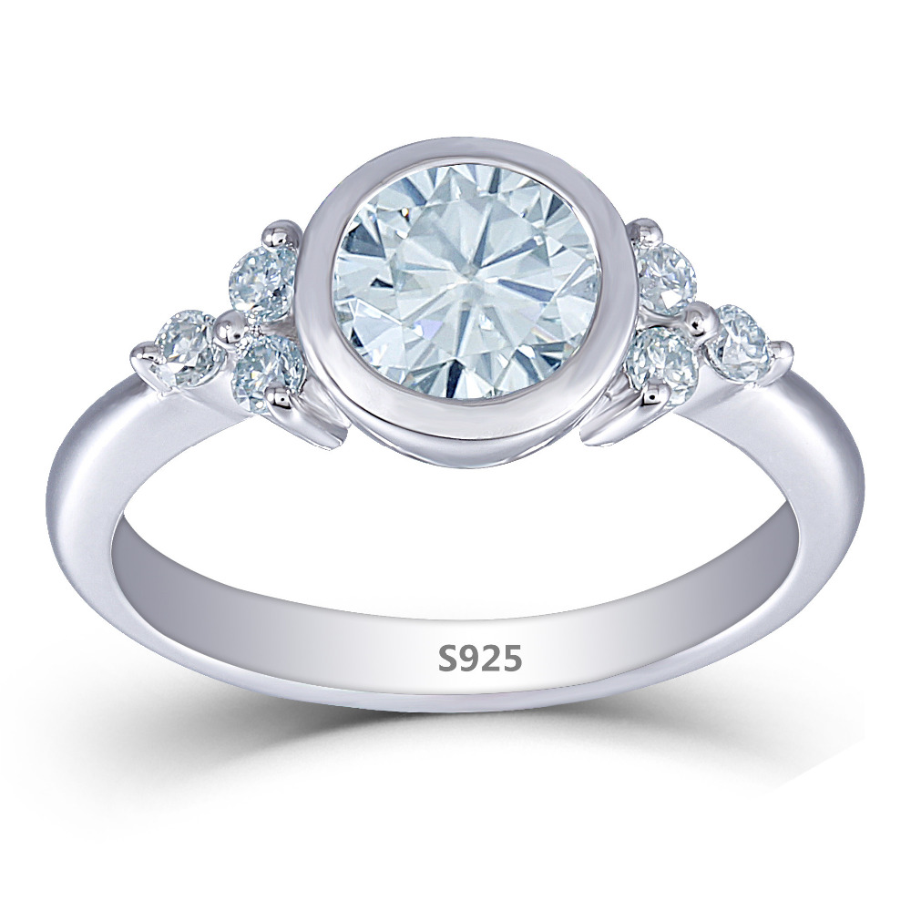 Transgems Platinum Plated Silver 1.21CTW 2mm Band Width Center 6.5mm Slight Blue Moissanite Engagement Ring with Accents transgems 2ct 7x8mm cushion cut slight grey lab grown moissanite 2 6mm width engagement rings platinum plated silver