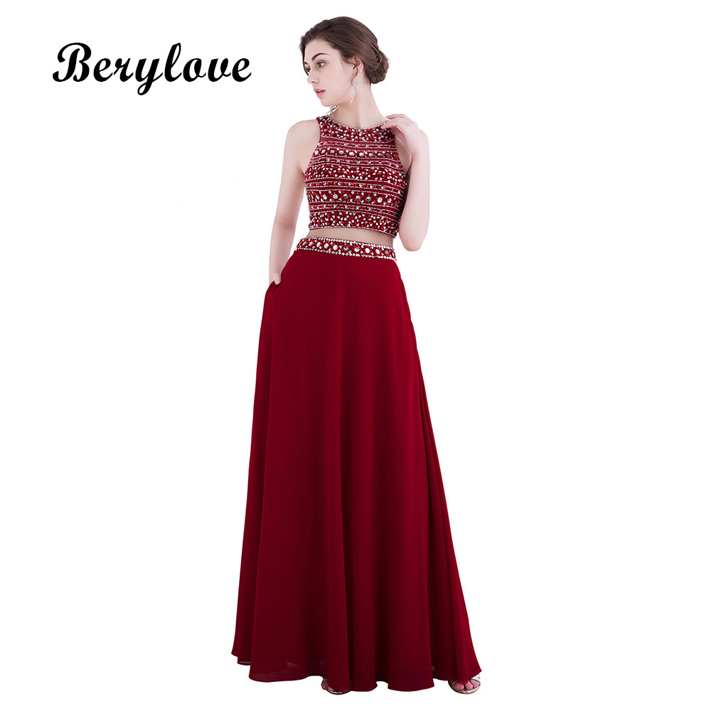BeryLove Long Two Pieces Burgundy Evening Dress 2018 Beaded Evening ...