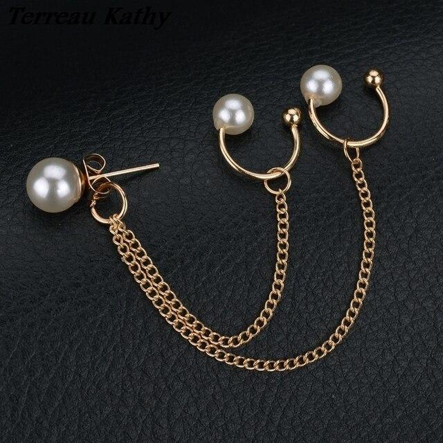 Terreau Kathy 2016 New Fashion Tassel Chain Pearl Earrings For Women Punk  Style Ear Cuff Clip Earrings c31151995ef8