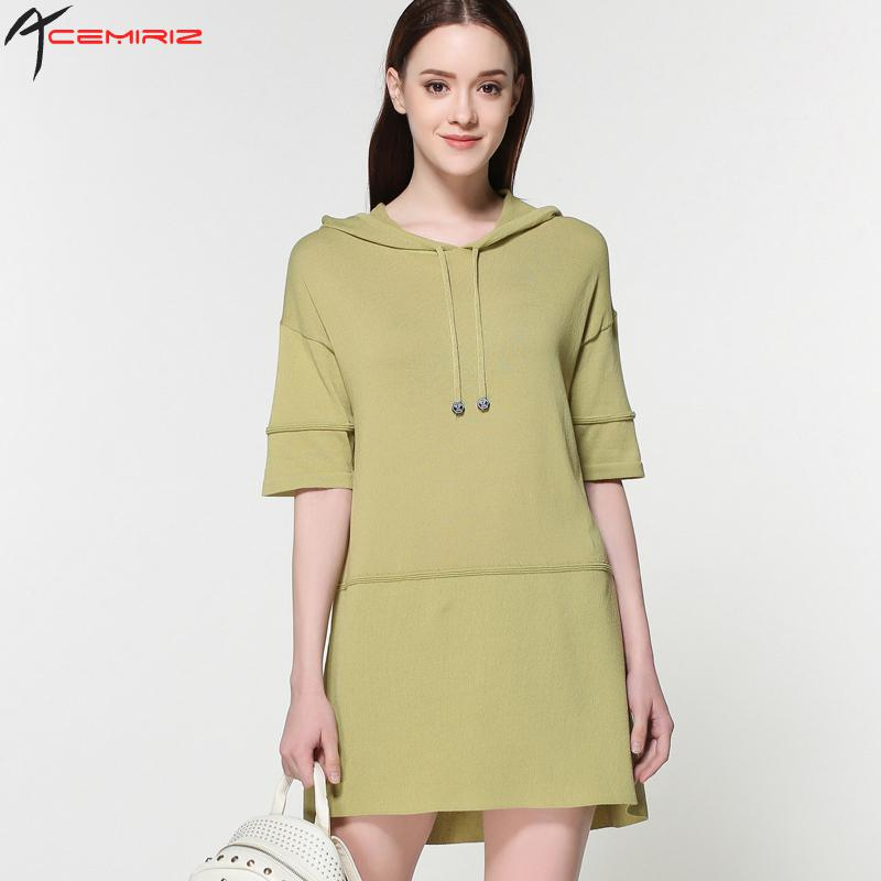 2017 Fashion Apparel Short Sleeve Hooded Sexy Women Knitted Dresses Spring Summer Women Casua Dress IV-1051