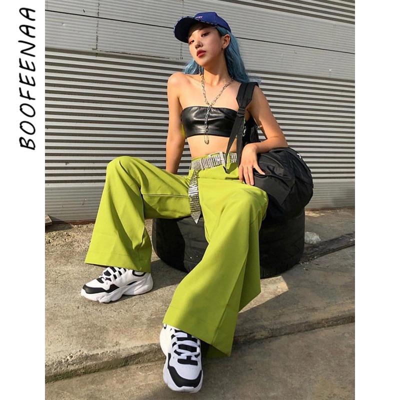 BOOFEENAA Neon Green High Waist   Wide     Leg     Pants   Women Cargo   Pants   Streetwear Harajuku Palazzo   Pants   Summer Trousers C87-AF99