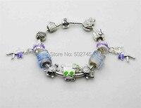 Fashion Jewelry Brand 2014 New Glass Beads heart lock 925 Silver Chain Charm Bracelet Bracelets&Bangles For Women christmas gift