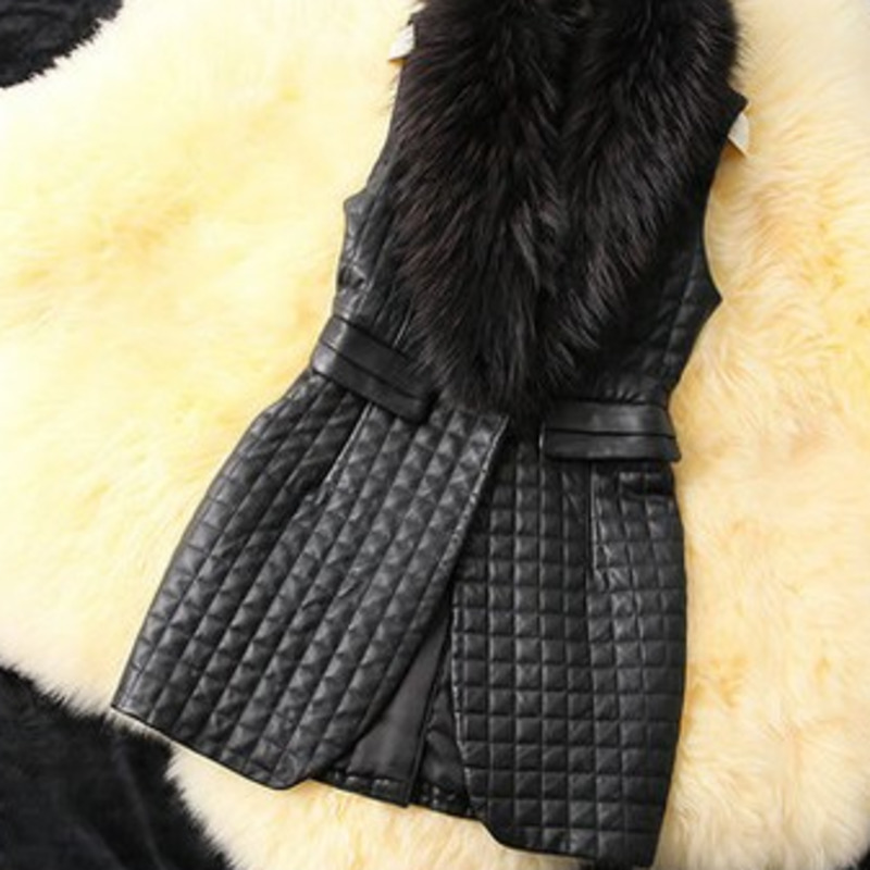 LANMREM 2020 Spring And New Casual Fashion Women Loose Plus Solid Color With Fur Collar Plaid Leather Vest TC588