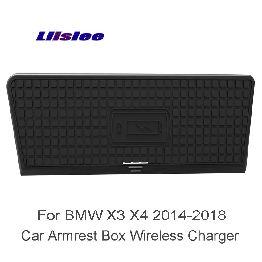 Liislee Wifi Charger Storage Car Quick Charge Fast Mobile Phone For BMW X3 X4 F25 F26 Car Sundries Box Car Charger Storage tronsmart ts cc2pc quick charge 2 0 two port car charger for galaxy s6