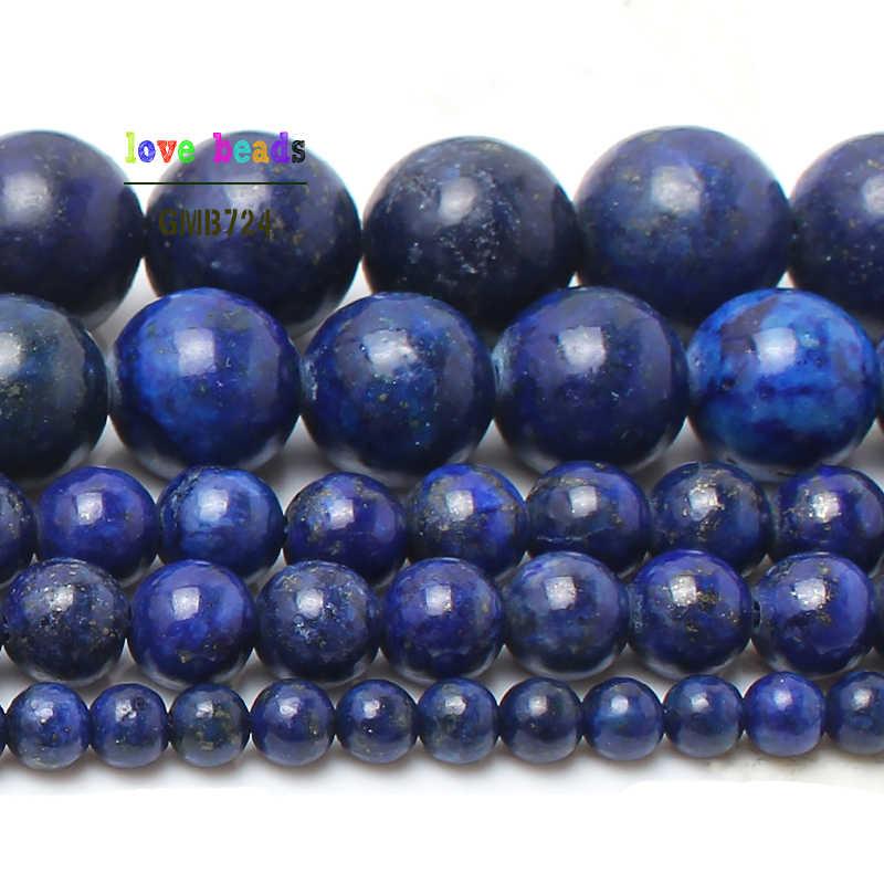 "Natuursteen Lapis Lazuli Ronde Losse Kralen 15 ""Strand 4 6 8 10 12MM Pick Maat DIY Ketting bracelet-F00078"