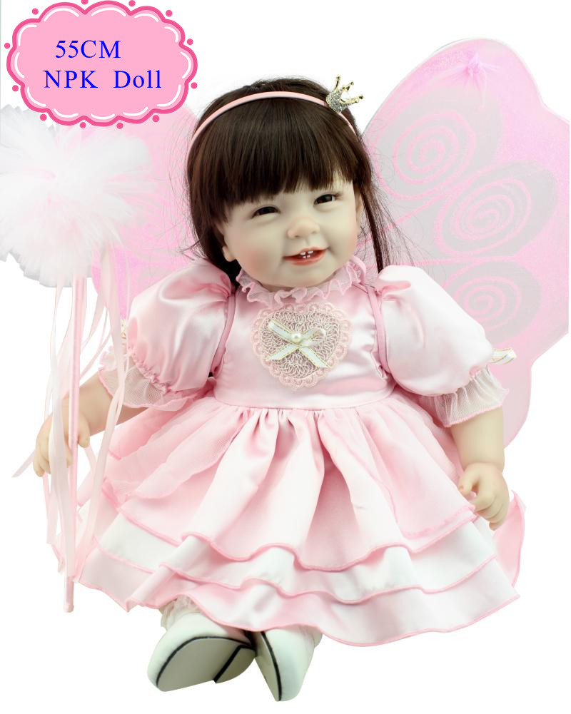 Hot Fashion 22'' Baby Doll Toys For Girl With Butterfly Clothes Super Star Reborn Toddler Dolls Hot Sell Early Enducational Doll