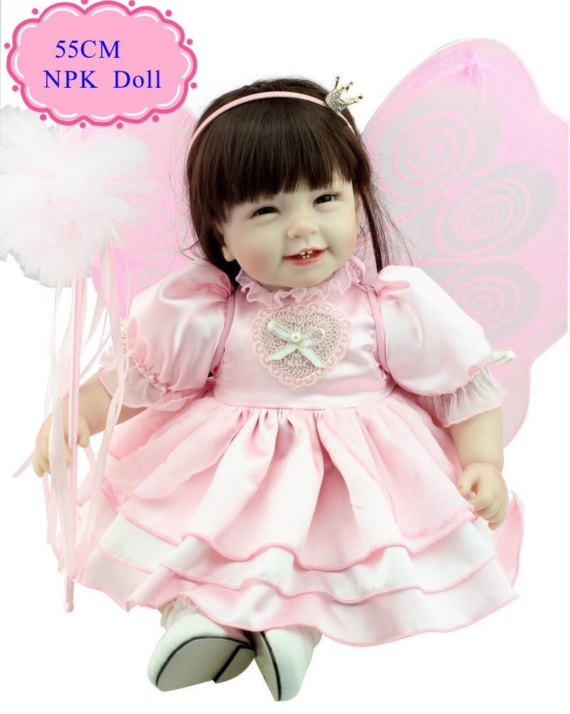 Mode chaude 22 ''bébé poupée jouets pour fille avec des vêtements de papillon Super Star Reborn bambin poupées vente chaude début poupée ducationnelle