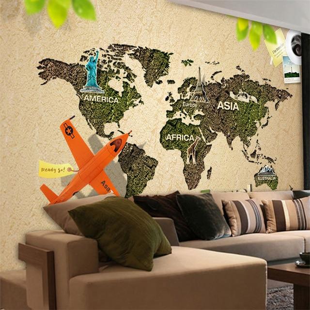 Beibehang Customizable Large European 3D Creative Global Travel Wallpaper Cafe Bar Nostalgic Theme Mural Agency