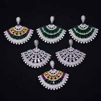 GODKI Brand New Fashion Popularny Luksusowe Konfekcjonowanych Pełna Mirco Utorować Kryształ Cyrkon Kolczyki Moda Biżuteria dla Kobiet 3.8 cm * 3.9 cm