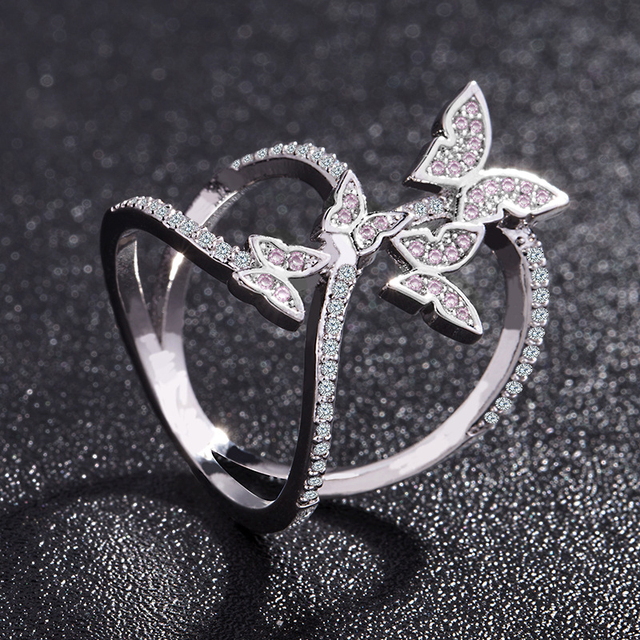 Butterfly Crystal Zircon Wings Ring for Women Love Jewelry Girls Trendy Wedding Bands 2