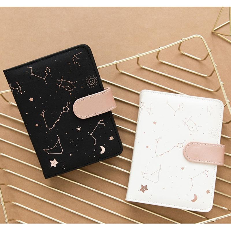 JIANWU Pink PU Shell Notebook Constellation Creativity Schedule Planner Kawaii Scrapbook Soft Cover Diary Office School Supplies