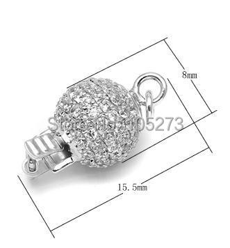 Round with zirconium 925 silver clasp, 8 mm DIY high-grade natural pearl crystal necklace, bracelet clasp. - L56A