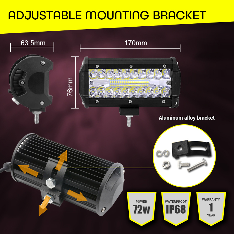 Image 4 - Led Light Bar Offroad 4x4 7 Inch 120W Led Work Lights for Tractors Spot Flood Combo Beam Triple Row Led Fog Lamp Driving Lights-in Light Bar/Work Light from Automobiles & Motorcycles