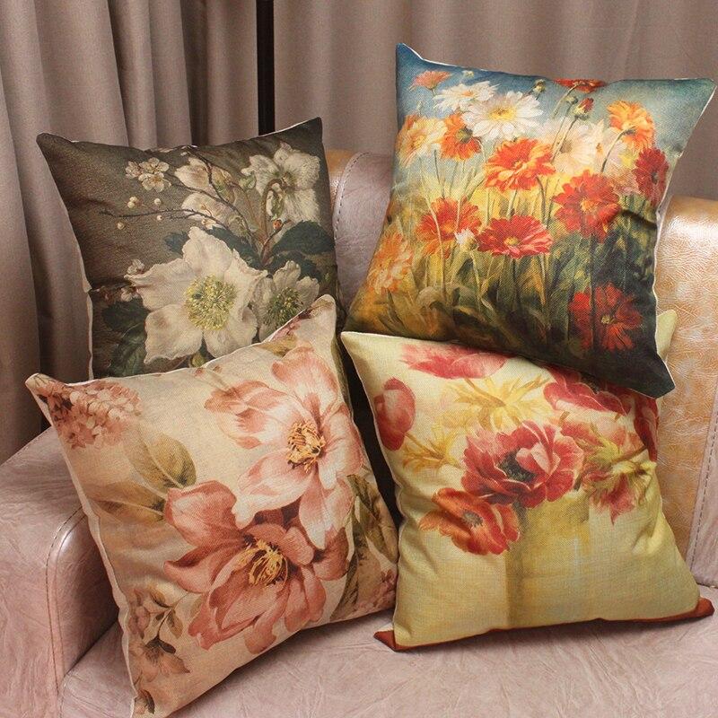 Vintage Oil Painting Vase Flowers Printed Cotton Linen