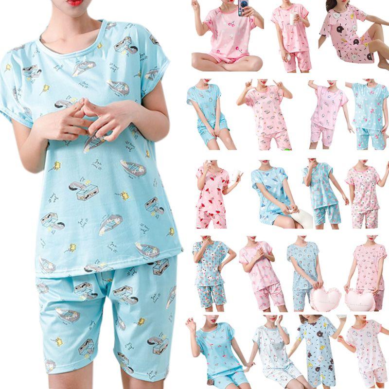 Women Girls Summer   Pajamas     Set   Short Sleeve Pullover Tops Loose Shorts Cartoon Stripes Floral Printed Milk Fiber Sleepwear