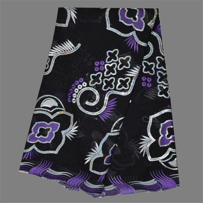 Venta caliente vestido de partido negro con púrpura + blanco bordado  algodón africano tela de encaje cordón suizo con lentejuelas ECP8-5