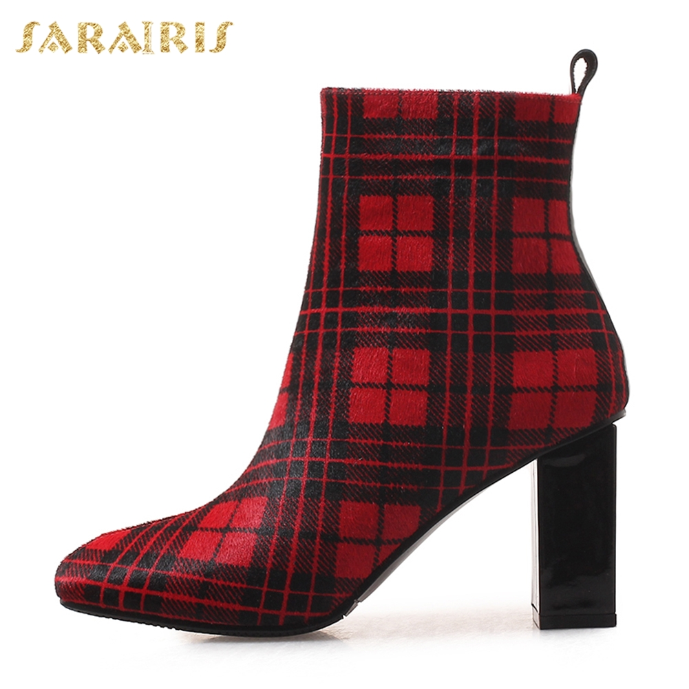 Frauen Neue Without blue Fur Chunky Zip Blue Fur Schuhe Sarairis Rosshaar Up Fur Rot Stiefel red Heels Ankle Frau With Großhandel High Blau AgqdxXdw