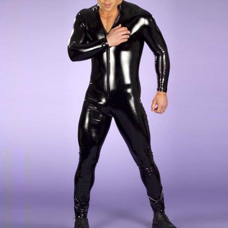 New Sexy Lingerie Men Latex Catsuit Faux Leather Bondage Bodysuit Leotard Unitard Fetish Costumes Erotic Lingerie Plus Size XXL