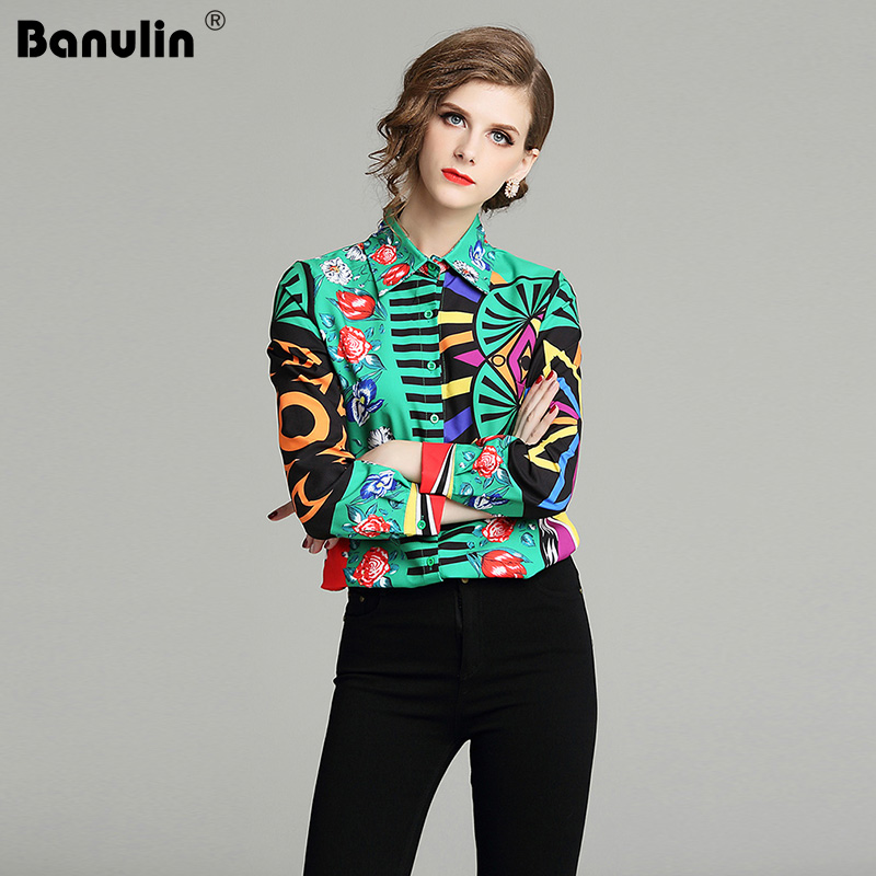 Banulin Women's Retro   Blouse   2018 Summer Winter Long Sleeve Grenn Floral Print Elegant Tops Ladies Office Runway   Blouses     Shirts