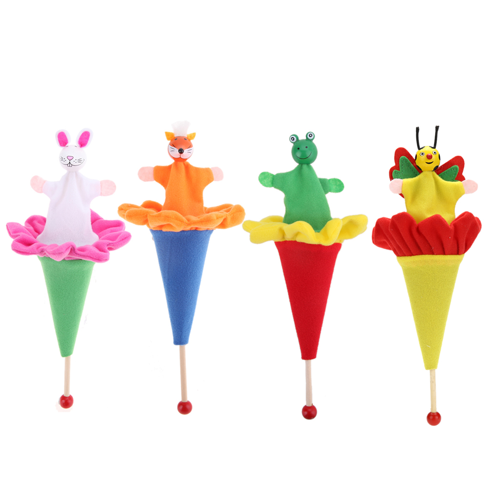 Funny Telescopic Stick Doll Hide & Seek Toy Animals Cute Rabbit Fox Frog Bee Retractable Hand Toy Interactive Game Toy for Child