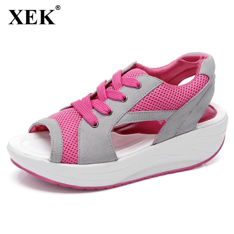 XEK 2018 New Women Casual Shoes Spring Summer Lace Up Swings Shoes New Breathable Sandals Fashion Women Shoes Woman JH157