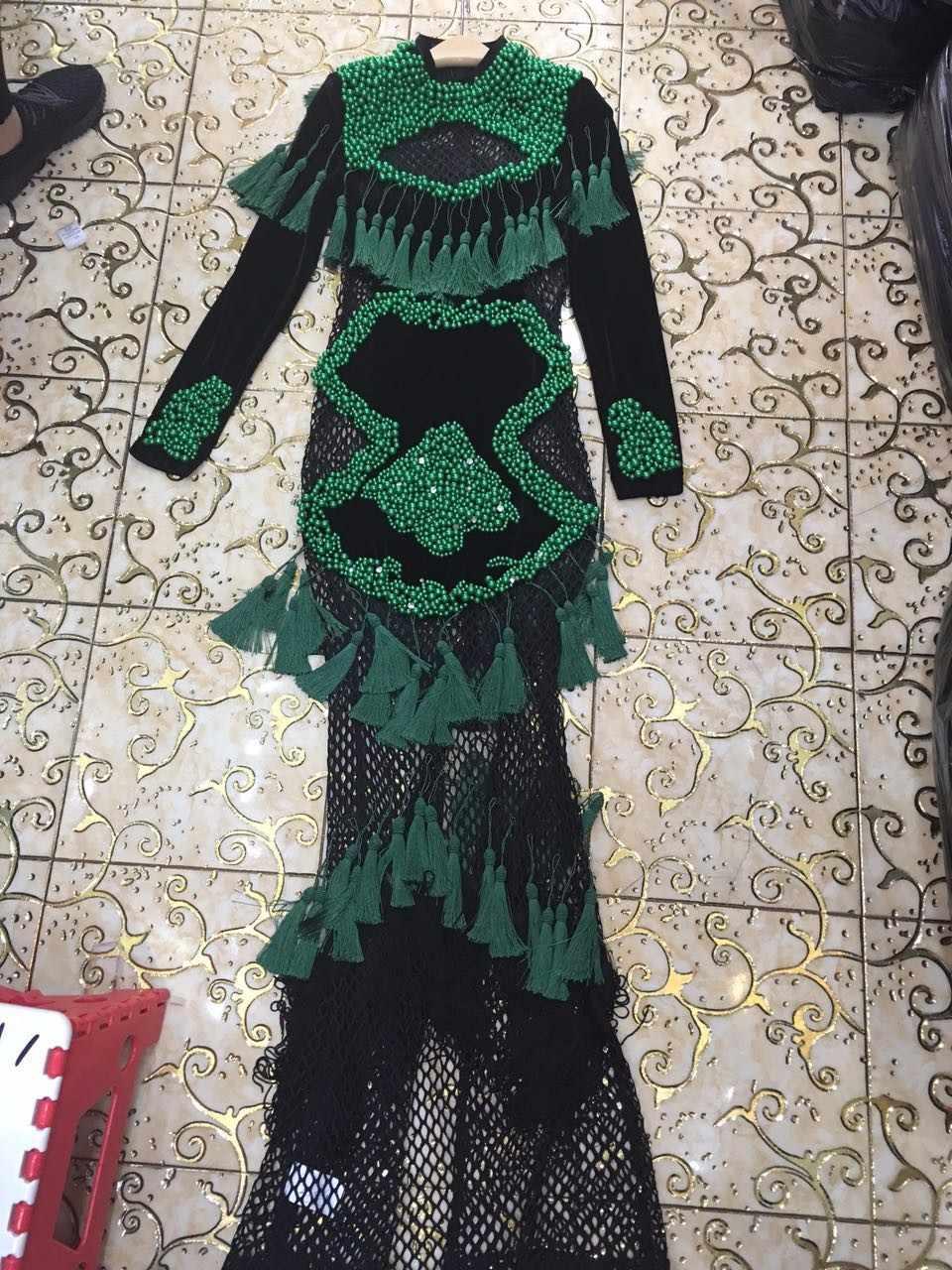 Женское роскошное сексуальное платье с длинным рукавом и отделкой из бус Зеленое Длинное Хлопковое платье 2017 облегающее дизайнерское платье