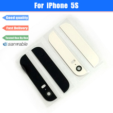 For iPhone 5S Replacement Repair Housing Parts Back Top and Bottom Glass Cover with Rear Camera Lens Flash Diffuser