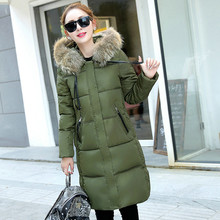 New Winter Women Big Fur Collar Hooded Coat Thick Warm Cotton Padded Jacket Quilted Parkas Outerwears
