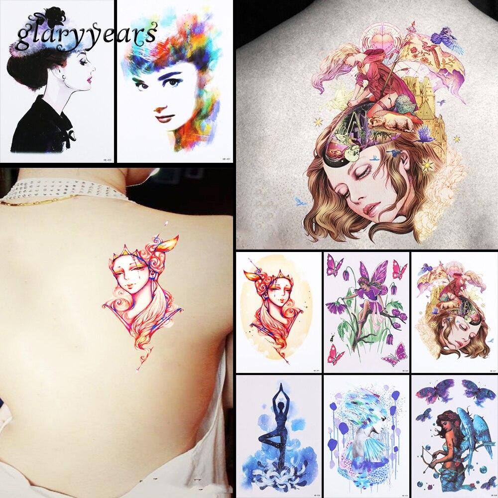 8 Pieces Angel Pattern Design Temporary Tattoo Sticker Butterfly Wing Beauty Women Back Body Art Waterproof Tattoo Sticker HB#54