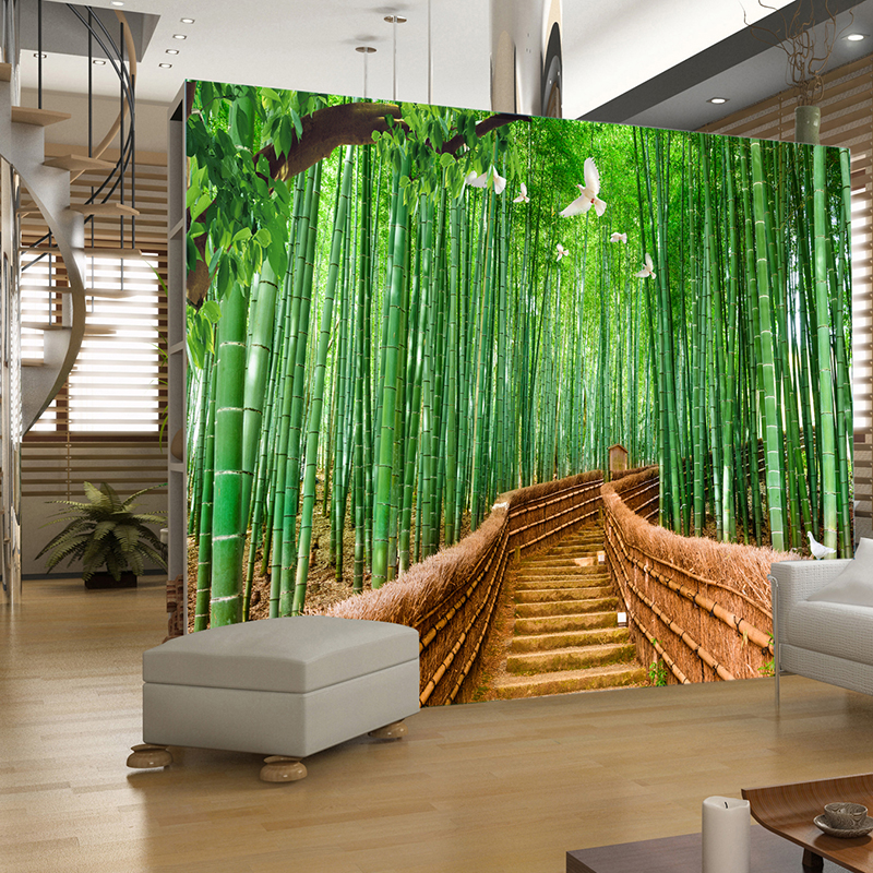 Tv backdrop wallpaper 3d three dimensional wallpaper for Bamboo mural wallpaper