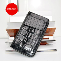 Real Alligator Hide Handbuild Men Women Zipper Wallets High Quality Crocodile Leather Unisex Casual Vintage Male