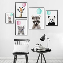 Cute Animals Canvas Poster Nordic Style Green and Pink Balloon Wall Art Print Painting Decoration Picture Home Decor Unframed