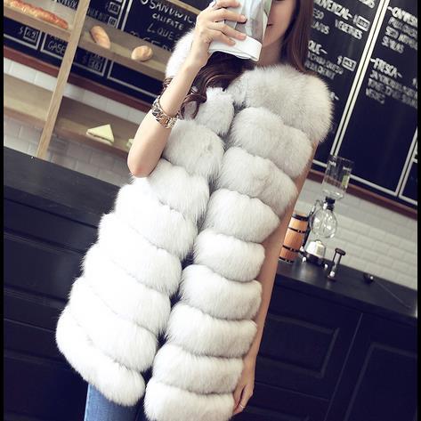 Longue Causalité Fourrure noir 2018 Manteaux Hiver Furry blanc En Wr604 Sans De Dames Long Automne Épais Femmes 6xl Manches Fausse Manteau gris Rouge xY4v1qw4Xn