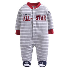 0-12M Baby Boy Rompers Long Sleeves O-Neck Fleece Stripe Clothing Character Pattern