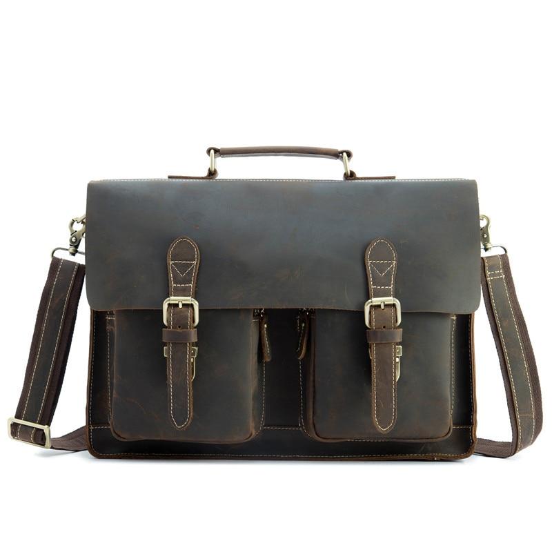 Genuine Leather Briefcase Men 15.6 Inch Laptop Business Portfolio Hand Bag Vintage Crazy Horse Men's Messenger Shoulder Bag Male