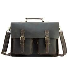 Genuine Leather Briefcase Men 15.6 Inch Laptop Business Portfolio Hand Bag Vintage Crazy Horse Men's Messenger Shoulder Bag Male цена