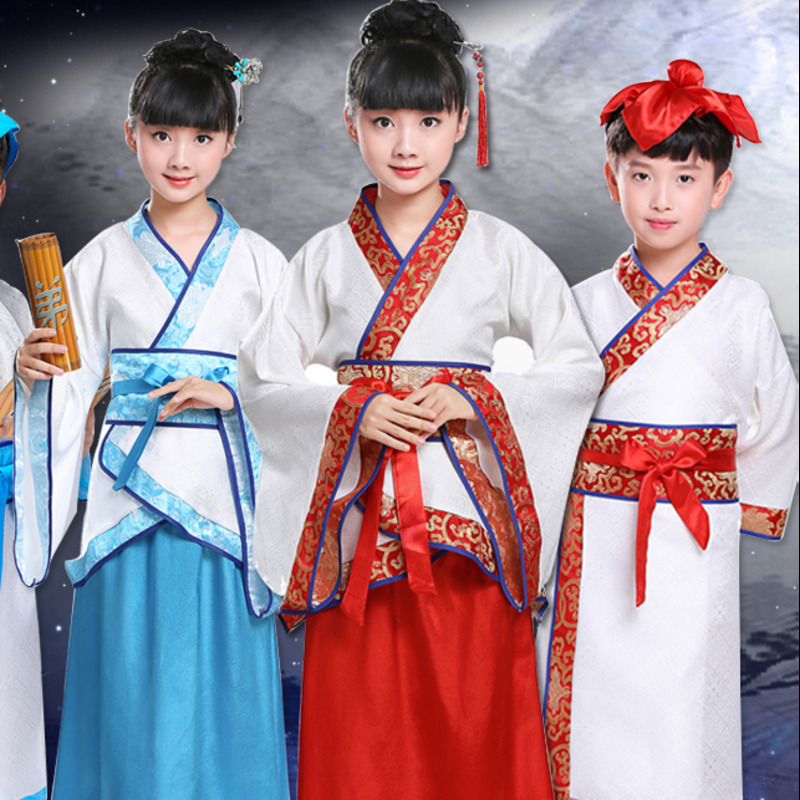 traditional chinese dance costumes for boy ming opera children Ancient Fairy han tang dynasty qing hanfu Dress Child kids grils
