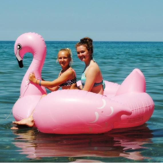 Tamanho grande engrossar Flamingo inflável piscina flutuante de 1.5 m cama flutuante com bomba verão quente jogo de festa brinquedos infláveis passeio em Swan