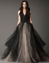 Lace Elegant Tulle Black Gothic Wedding Dresses A Line Sexy Backless Bridal Wedding Gowns vestido de noiva designer dress