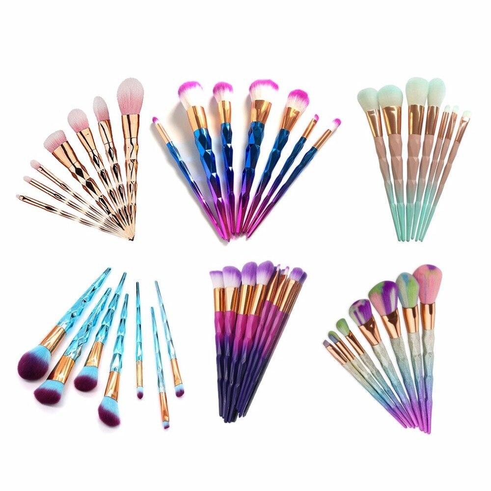 7pcs Diamond Shape Rainbow Handle Makeup Brushes Set Foundation Powder Blush Eye Shadow Lip Brushes Face Beauty Makeup Tools new