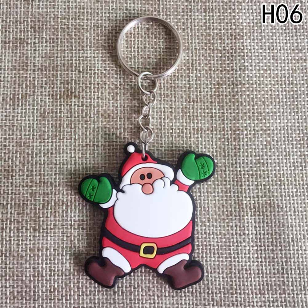 Cute Christmas Tree Charm Keychian Keyring Christmaas Gift Key Chain Jewelry Cartoon Santa Claus Snowman Deer