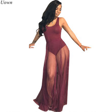 dbcaf549c7d Cotton Mesh Maxi Dress with Floor-Length Sheer Overlay See Through Pleated Party  Dresses Tank