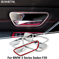 For BMW 3 Series Sedan F30 2012-2016 Car Inner Door Bowl Covers Chrome Trim Chromium Styling Decoration Accessories Car-styling